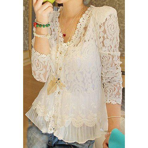 Elegant Openwork Long Sleeves Flouce Lace Women's Blouse