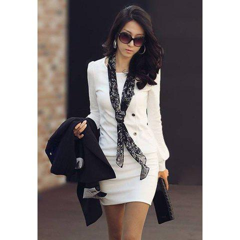 Best Mini Buttoned Long Sleeve Fitted Dress WHITE M