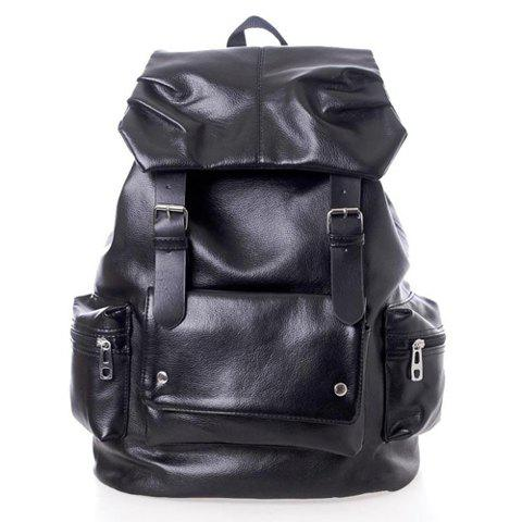Solid Color and Pockets Belt Design Backpack For Men