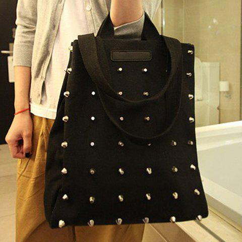 Latest Casual Fashion Solid Color and Rivets Design Women's Tote - BLACK  Mobile