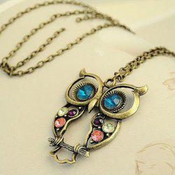 Retro Fashion Style Openwork Owl Shape Colorful Rhinestone Inlaid Necklace For Women -