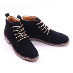 Suede Lace Up Boots - BLACK
