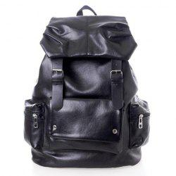 Casual Stylish Solid Color and Pockets Belt Design Men's Backpack -