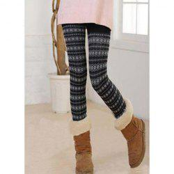 Fashion Slimming Thicken Fleece Snowflake Pattern Women's Leggings -