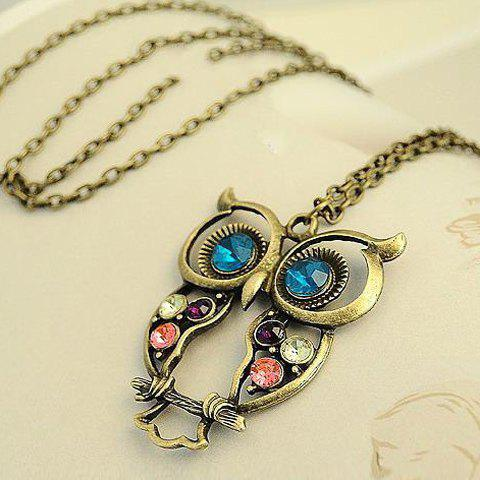 Outfit Retro Fashion Style Openwork Owl Shape Colorful Rhinestone Inlaid Necklace For Women