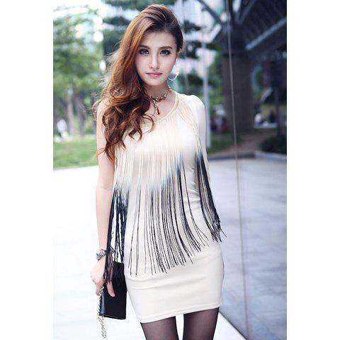 Affordable Sexy One Shoulder Ombre Fringe Splice Slimming Long Sleeve Milk Silk Women's Club Dress