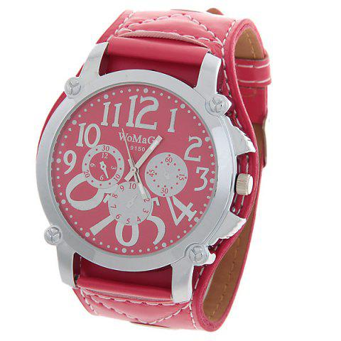 Discount WoMaGe Quartz Watch with Round Dial Leather Watchband for Women - Red