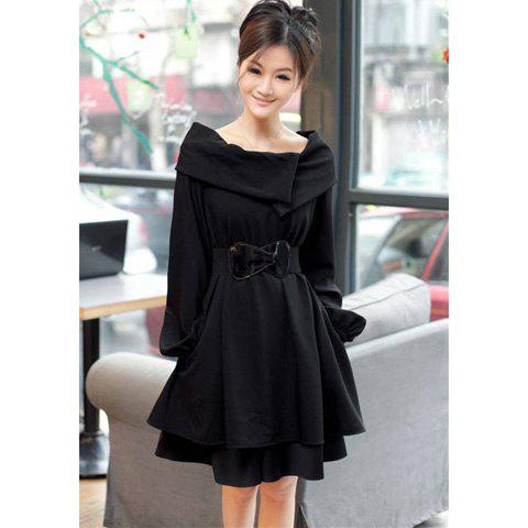 Latest Elegant Boat Neck Special Design Long Sleeves Dacron Slimming Fitted Women's Dress