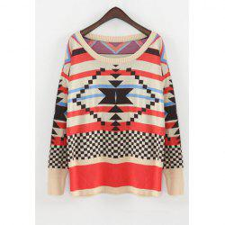 Christmas Style Scoop Neck Colorful Figures Splicing Long Sleeves Knitting Women's Sweater -