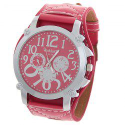 WoMaGe Quartz Watch with Round Dial Leather Watchband for Women - Red -