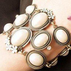 Korea Style and Elegant Flower and Pearl Embellished Bracelet For Women - COLORMIX