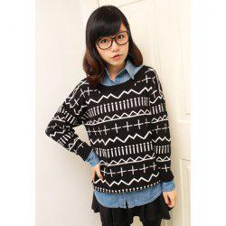 Retro Style Scoop Neck Long Sleeved Women's Christmas Sweater -