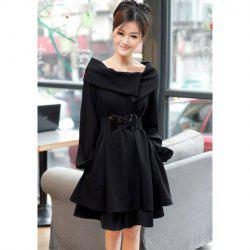 Elegant Boat Neck Special Design Long Sleeves Dacron Slimming Fitted Women's Dress -