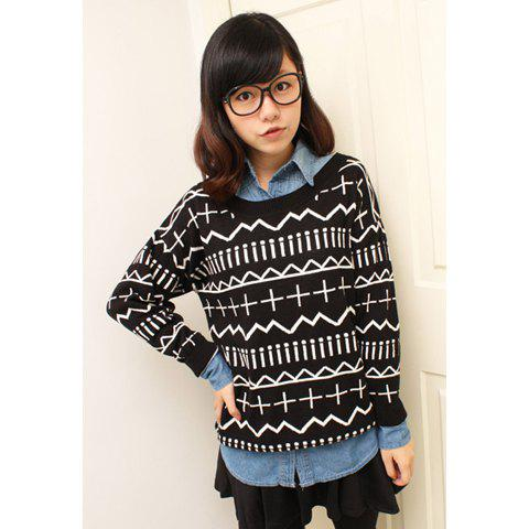 Outfits Retro Style Scoop Neck Long Sleeved Women's Christmas Sweater