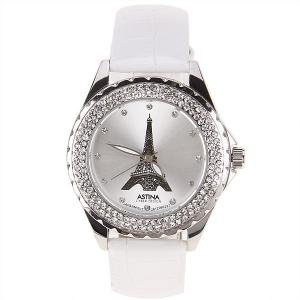 Astina Quartz Watch with Diamonds Dots Indicate Round Dial Leather Watch Band for Women (White) -