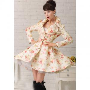 Elegant Style Lapel Rose Jacquard Weave Big Hem Long Sleeve Cotton Women's Coat - As The Picture - L