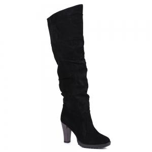 Causal Suede Chunky Heel Design Women's Boots - Black - 39