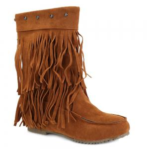 Studded Fringe Mid Calf Boots - Brown - 39