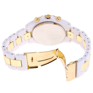 Miler Quartz Watch Number and Strips Indicate Round Dial with Steel and Plastic Watch Band for Women (White) -