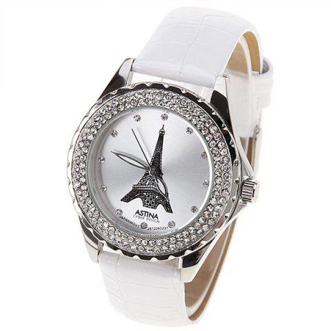 Fancy Astina Quartz Watch with Diamonds Dots Indicate Round Dial Leather Watch Band for Women (White)