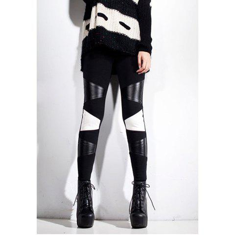 Special Color Matching PU Leather Splicing Skinny Women's ...