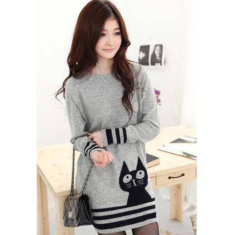 New Casual Scoop Neck Long Sleeves Pussy Cat Print Stripes Decorated Edge Knitting Women's Dress