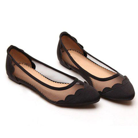 1455c29d4f6 Sexy Casual Splicing and Gauze Design Women's Flat Shoes