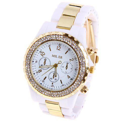 Shops Miler Quartz Watch Number and Strips Indicate Round Dial with Steel and Plastic Watch Band for Women (White)