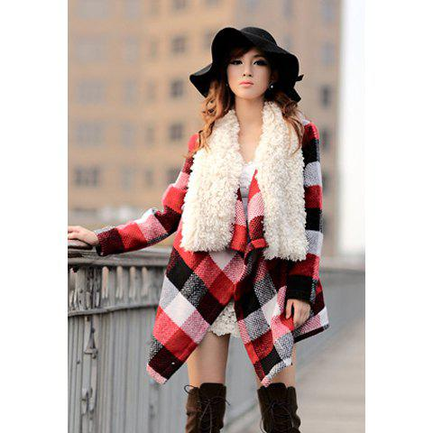 Fashion Modern Style Fur Collar Splicing Design Checked Beam Waist Worsted Women's Coat