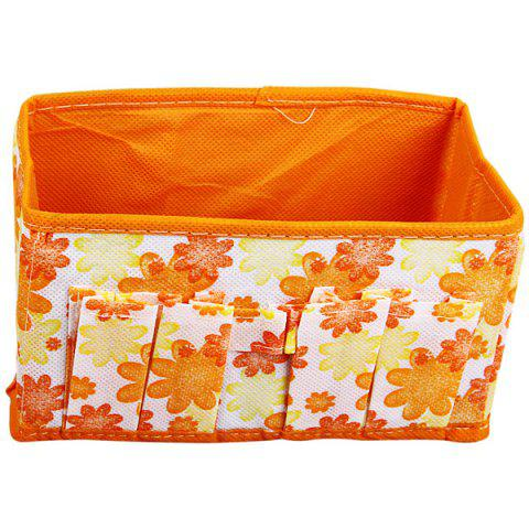 Store Folding Cosmetics Storage Box with Flower Image Design Desktop Storage Case