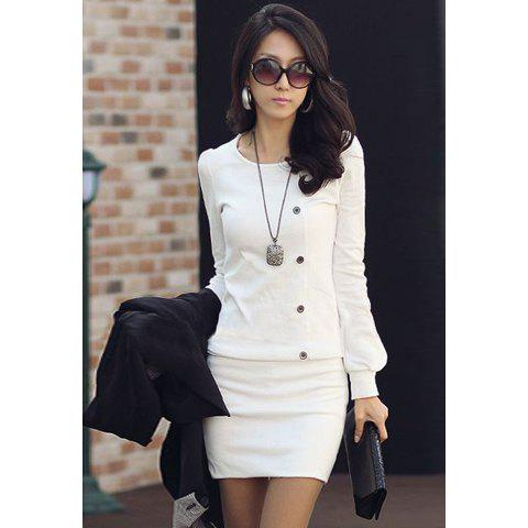 Best Mini Long Sleeves Sheath Tunic Dress - M WHITE Mobile