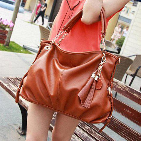 Outfit Casual Laconic Pure Color and Tassels Design Women's Shoulder Bag