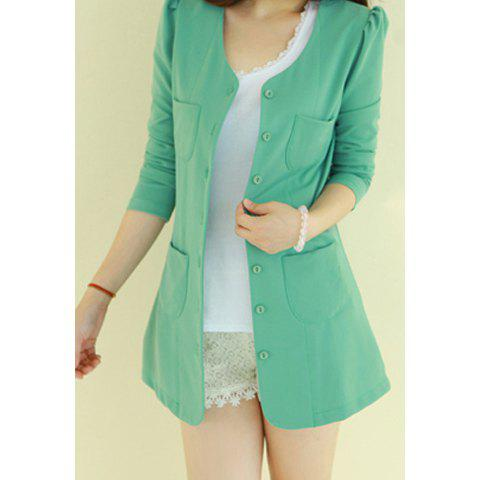 Casual Style Scoop Neck Candy Color Puff Sleeve Cotton Women's Coat - Green - One Size