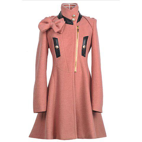 Online Stand Collar Slim Fit Bow Decorated Long Sleeves Woolen Fabric Women's Coat