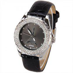 Astina Quartz Watch with Diamonds Dots Indicate Round Dial Leather Watch Band for Women (Black) - BLACK