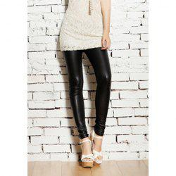 Popular Alluring Solid Color PU Leather Women's Skinny Leggings -