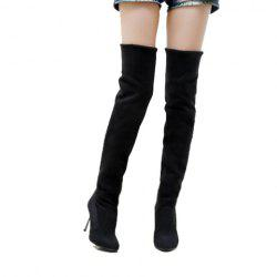 Laconic Casual Round Head Solid Color and High Heel Design Women's Boots -