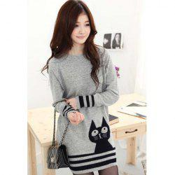 Casual Scoop Neck Long Sleeves Pussy Cat Print Stripes Decorated Edge Knitting Women's Dress -