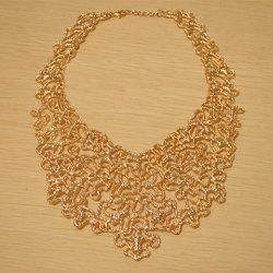Vintage Openwork Jacquard Pattern Embellished Necklace -