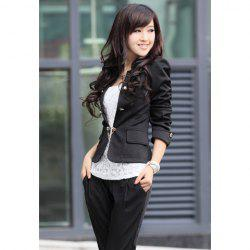 Elegant Solid Color Bowknot Embellished Cotton Blend Women's Blazers - BLACK