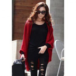 Stylish Style Cardigans Dolman Sleeves Design Women's Sweater - RED ONE SIZE