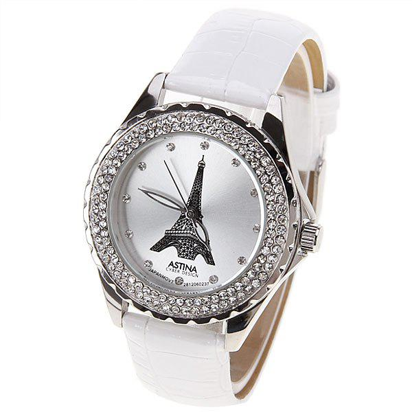 Astina Quartz Watch with Diamonds Dots Indicate Round Dial Leather Watch Band for Women (White)JEWELRY<br><br>Color: WHITE;