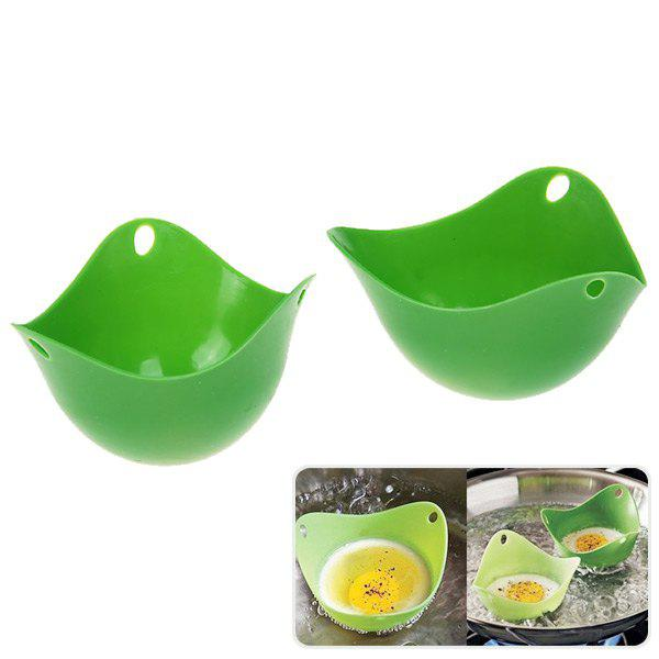 Fashion 2PCS Silicone Steam Egg Kitchen Cookware Poached Baking Cup (Deep Green)