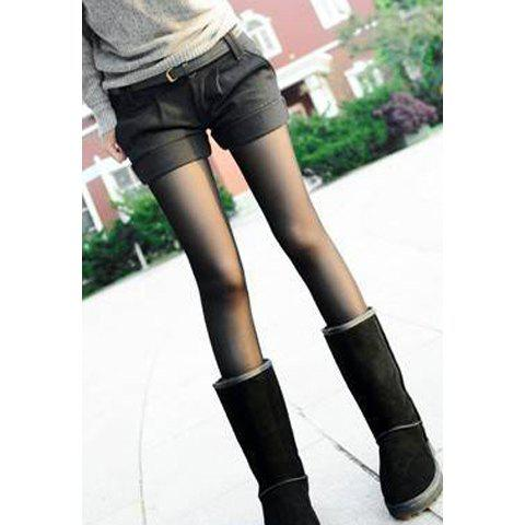 Online Slimming Solid Color Ruffle High Waist Worsted Women's Shorts
