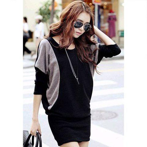 Casual Style Color Splicing Scoop Neck Batwing Sleeve Knit Womens DressWOMEN<br><br>Size: M; Color: BLACK; Style: Casual; Material: Cotton Blend; Silhouette: Sheath; Dresses Length: Mini; Neckline: Round Collar; Sleeve Type: Batwing Sleeve; Sleeve Length: Long Sleeves; Pattern Type: Patchwork; With Belt: No; Season: Spring,Summer,Fall,Winter; Weight: 0.208KG; Package Contents: 1 x Dress;