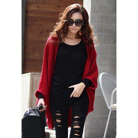 Stylish Style Cardigans Dolman Sleeves Design Womens SweaterWOMEN<br><br>Size: ONE SIZE; Color: RED;