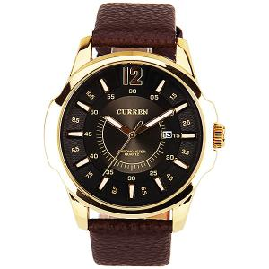 Curren Quartz Watch with 1 Number and Strips Indicate with Round Dial Leather Watch Band for Men - Black -