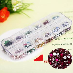 Stylish 12 Colors Glitter Nail Art Tips with Plastic Box Round Paillette Decoration - As The Picture