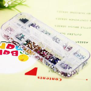 Stylish 12 Colors Glitter Nail Art Tips with Plastic Box Round Paillette Decoration -