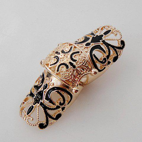 Retro Style Long Design Metal Knuckle Ring - COLOR ASSORTED ONE SIZE